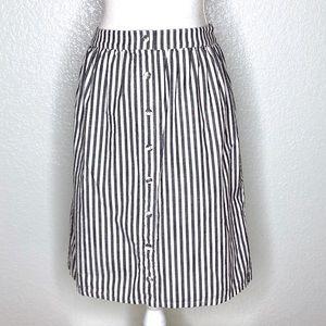 Down East Blue Grey White Striped Midi Skirt